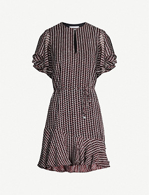 REISS Anna wave-print chiffon mini dress