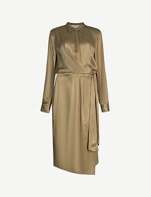 REISS Katie wrap-front satin midi shirt dress