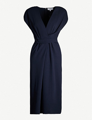 REISS Maxime gathered-waist crepe dress