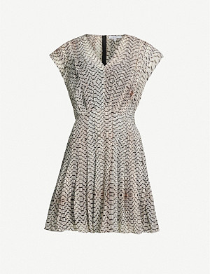 REISS Marcy geometric-print chiffon mini dress