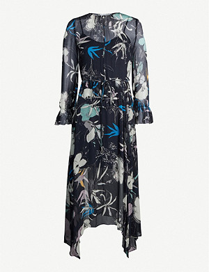 REISS Carina graphic-print crepe maxi dress