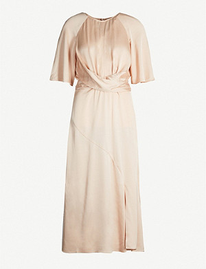 REISS Arlo gathered-waist satin dress