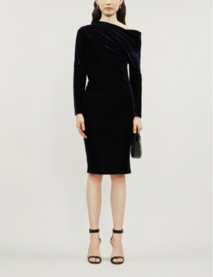 Valeria Off The Shoulder Velvet Midi Dress by Reiss