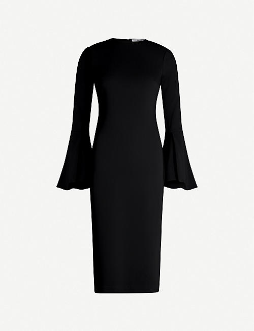 REISS Annie fluted-sleeve crepe midi dress