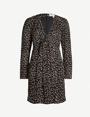 REISS Julia zig-zag print woven mini dress