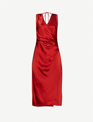 REISS Lucine satin midi dress