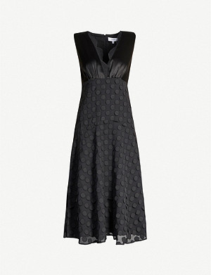 REISS Leni jacquard polka-dot satin and crepe midi dress