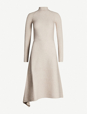 REISS Leo turtleneck stretch-knit midi dress