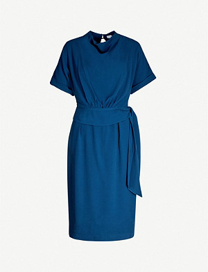 REISS Lola draped-neckline crepe dress