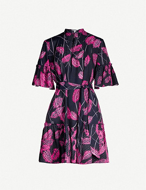 REISS Marsali feather-print midi dress