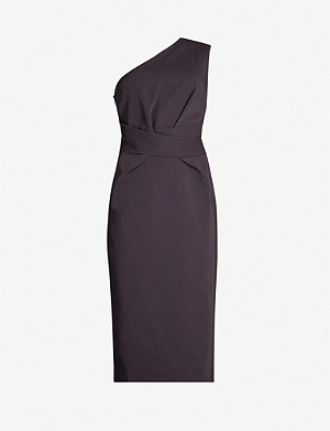 REISS Laurent one-shoulder woven wrap dress