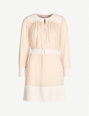 REISS Finn belted crepe dress
