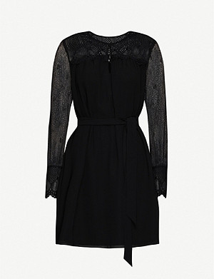 REISS Callista crepe and lace midi dress