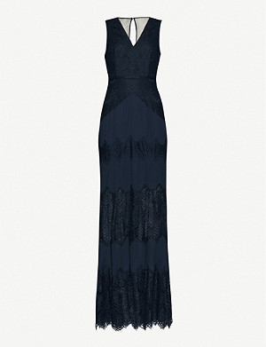 REISS Adala crepe and lace maxi dress