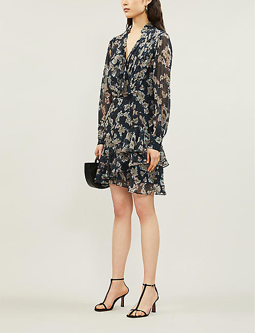REISS Marseille floral-print chiffon dress