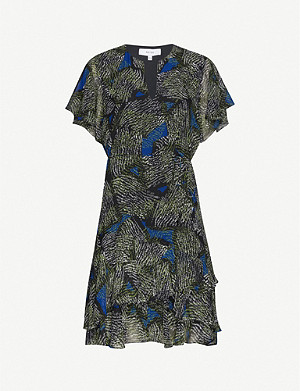REISS Sophie chiffon jungle-print mini dress