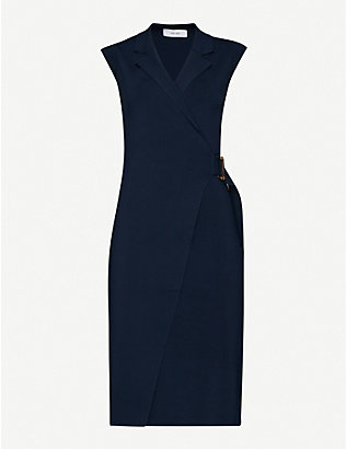 REISS: Gabrielle stretch-knit wrap midi dress