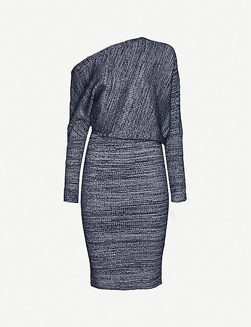 REISS Verity off-the-shoulder stretch-knit midi dress