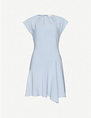 REISS: Belle cap-sleeve woven asymmetric mini dress