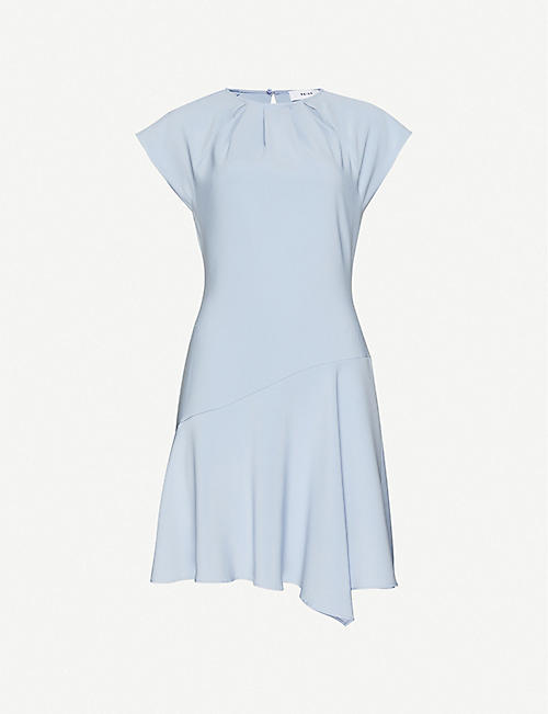 REISS Belle cap-sleeve woven asymmetric mini dress