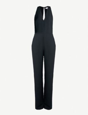 REISS Naddia strap-back plunge-front jersey jumpsuit