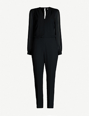 REISS Adeliza semi-sheer woven jumpsuit