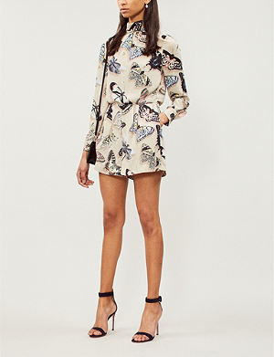 80240005877 REISS Gail butterfly-printed crepe playsuit