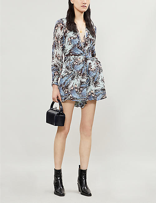 f0b11f4fdf56 REISS Alena floral-print ruched crepe playsuit