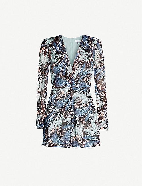 2d210baa2082 REISS Alena floral-print ruched crepe playsuit