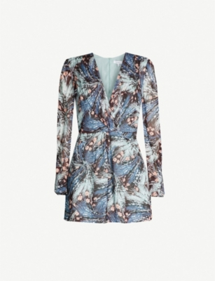 REISS Alena floral-print ruched crepe playsuit