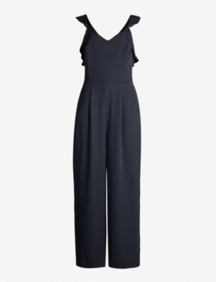 REISS Amika crossover-back crepe jumpsuit