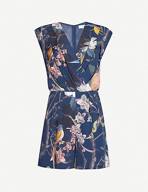 f430d510e68f REISS Latino floral-print sleeveless crepe playsuit