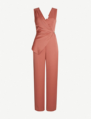 REISS Vita wrap-front satin jumpsuit
