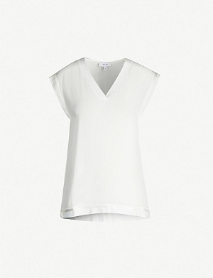 REISS Lexi knitted-trim crepe top