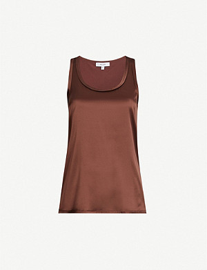 REISS Remey stretch silk-satin and jersey top
