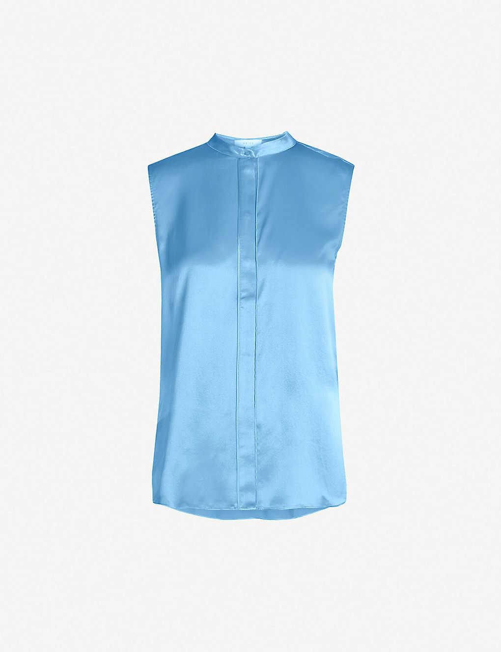 c6b334eaa22bf4 REISS - Lila silk-satin covered-placket top | Selfridges.com