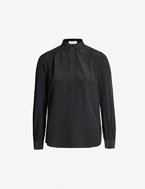 REISS Nadina silk-satin shirt