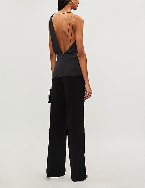 REISS Adalee asymmetric crepe top