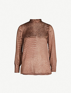REISS Della snakeskin-devoré silk-blend blouse