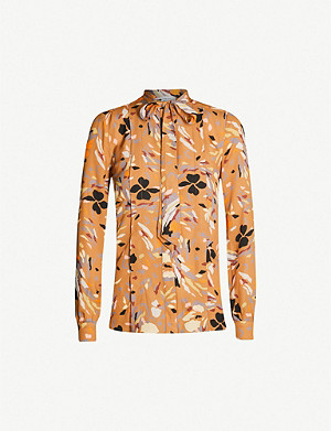 REISS Elisa abstract-print crepe shirt