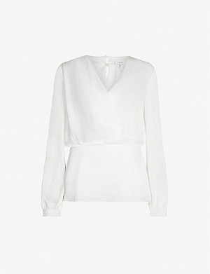 REISS Miranda wrap-front satin blouse
