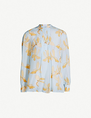 REISS Phoenix reef-print satin blouse