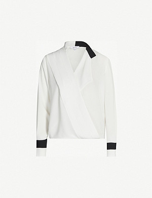 REISS Jasmina draped-front crepe blouse