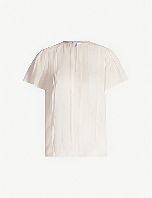 REISS Millie pleated chiffon top
