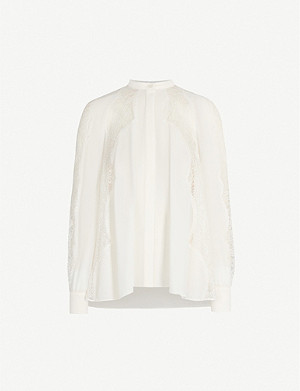 REISS Fianna eyelash lace-trimmed crepe shirt