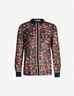 REISS Graphic-print crepe blouse