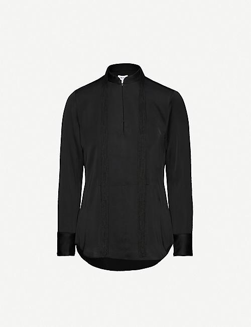 REISS Beatrice fringed satin shirt