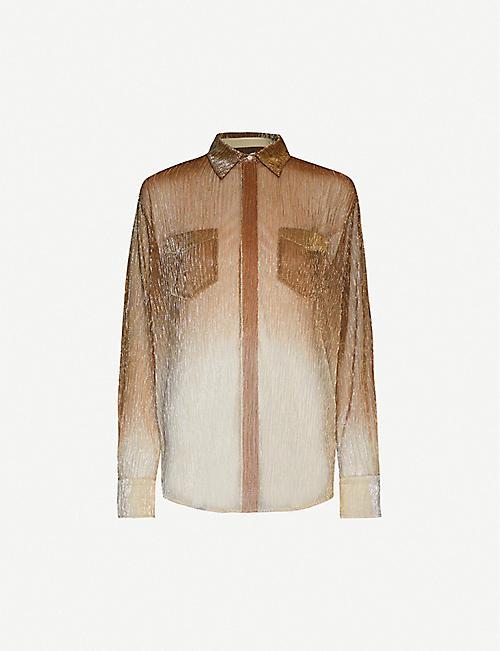 REISS Frida long-sleeved buttoned lurex shirt