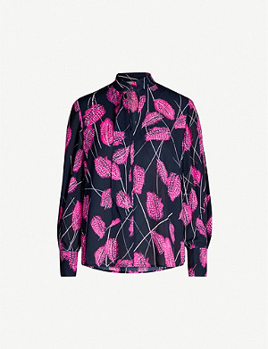 REISS Lily feather-print crepe top