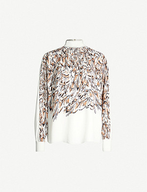 REISS Magda feather-print crepe blouse